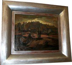 Ölgemälde Kubistische Landschaft unsigniert c. 1940  #ölgemälde #kubistischelandschaft #imposing #oilpainting #landscape #cubistlandscape