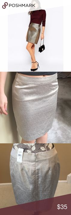 Loft Metallic Pencil Skirt Silver and gold blend straight skirt. In the second photo I had it by my hips and it went down to just above my knee. It was too big to wear around my waist. Slit on back. Zipper and clasp closures! Built in polyester slip inside LOFT Skirts Pencil