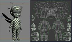 UV layout of a character.  Note how the UVs on the head towards the top are stretching.  This may not be much of a concern if the design calls for hair or some form of head gear.