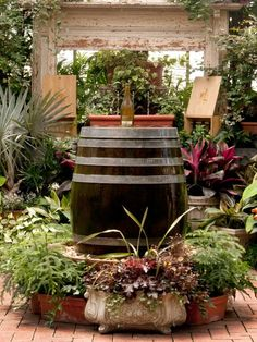 Create a one-of-a-kind focal point for your backyard or patio using a wine barrel or cask and an empty bottle of your favorite vintage.