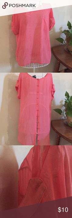 Peach split back top Pretty light weight top. High low with split buttoned back. One button is missing on left sleeve as shown in third pic. Could be replaced with a button from bottom of back. Priced low to reflect this Zenobia Tops Blouses