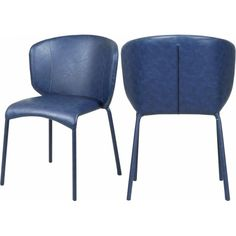 Blue Faux Leather Modern Contemporary Dining Chair Set of 2 Ottoman Stool, Chair Bench, Dining Chair Set, Blue Furniture, Dining Furniture, Contemporary Dining Chairs, Contemporary Design, Rustic Industrial, Leather
