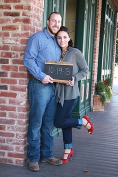 Custom chalkboards, we made ours using a flat piece of wood with bark edges and chalkboard paint. It added a little rustic flare to our engagement pictures.