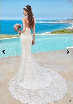 I'm selling my wedding dress! Click into the Pin to see more photo's.. Lace, sequins, crystals, sheer train, sweetheart strapless, buttons - it's got it all!