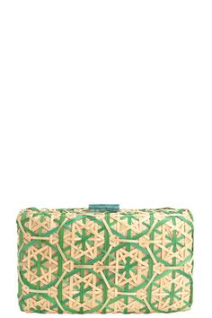 Love the detail on this woven bamboo clutch featuring mother of pearl clasps. Bamboo Bruna Clutch by Serpui Marie