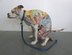 Will Kurtz, dog sculpture via: Cultura Inquieta Paper Mache Sculpture, Dog Sculpture, Paper Sculptures, Art And Illustration, Simple Art, Unique Art, Paper Mache Animals, Arte Horror, Textile Artists