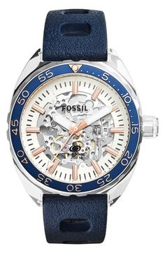 Fossil 'Breaker' Skeleton Dial Silicone Strap Watch, 47mm