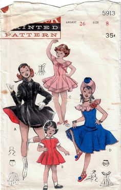 Dance & skating costumes in my #etsy shop: 1950s Butterick 5913 Vintage Sewing Pattern Girls Dance Costume, Skating Dress, Princess Dress Size 2, Size 8 http://etsy.me/2GGHMND #supplies #sewing #girlsdancecostume #girlsskatingdress #girlsprincessdress #50sdancecostume