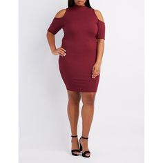 Charlotte Russe Ribbed Mock Neck Cold Shoulder Dress ($22) via Polyvore featuring plus size women's fashion, plus size clothing, plus size dresses, wine, plus size bodycon dresses, plus size midi dresses, bodycon dress, plus size cold shoulder dress and cut out bodycon dress