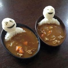 Sooo funny & cute! Make any thick curry or stew recipe. Mold wet, cooked rice in your hands into the right shape. Add a splash of non-dairy milk to add stickiness, if needed for the shape. Use nori for faces. #vegan