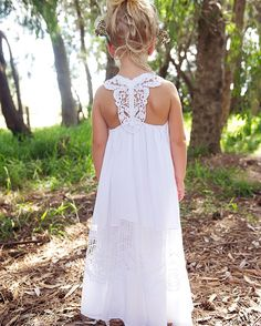 Tea Princess lotus dress   Boho flower girl dress Bohemian flowergirl   Crochet flowergirl