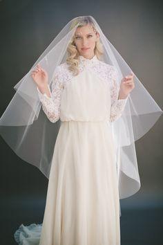 Drop Wedding Veil Simple Tulle Veil Circle Veil by veiledbeauty