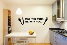 May the Fork Be with You decal, may the force decal, fork wall decor, may the fork be with you, star wars wall art, star wars decals