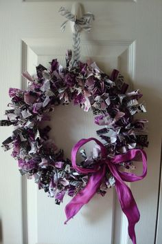 Purple, Black and White Fabric Wreath  $25.00