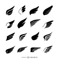 Big set of wing silhouettes. This wing collection includes different styles and… Free Vector Graphics, Vector Art, Eagle Icon, Wings Icon, Fly Logo, Wings Drawing, Angels Logo, Bird Logos, Wings Logo