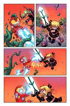 Le Battleworld accueille toutes sortes d'univers alternatifs. S'ils sont pour la plupart violents, une partie accueille des versions plus jeunes, plus cartoony et way so cuuuute de nos héros Marvel préférés. Les Babies sont de retour pour un num�....