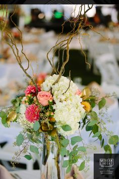 Outdoor tent reception centerpieces mixing flowers and branch vase design. White, pink and green wedding color scheme. Wedding Flower Photos, Wedding Flowers, Wedding Color Schemes, Wedding Colors, Tent Reception, Centerpieces, Table Decorations, Wedding Gallery, Green Wedding