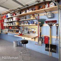 Create more storage space in your garage for tools, garden equipment, toys and everything else, even in the narrow alley between the wall and car door, with this adjustable shelving system.