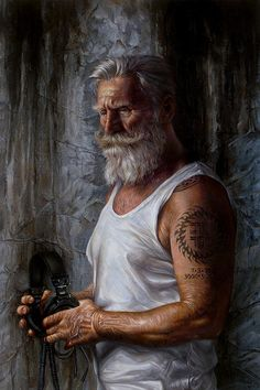 Listen 6 - Job by Brent Schreiber. The model and narrative of Listen 6 - Job were inspired by the biblical story of Job and his trials through faith. Silver Hair Men, Men With Grey Hair, Mens Hairstyles With Beard, Haircuts For Men, Beard Styles For Men, Hair And Beard Styles, Viking Beard, Viking Men, Realistic Cartoons