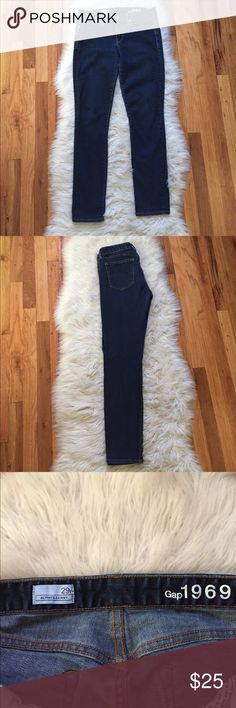 """GAP Always Skinny Jeans Excellent condition with no flaws, GAP Always skinny jeans in a staple dark denim rinse. Soft quality made jeans with stretch, super comfy and true to size 29/8. 30"""" inseam - bundle to save or make an offer!! GAP Jeans Skinny"""