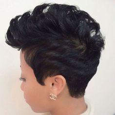 Black Mohawk Pixie Hairstyle
