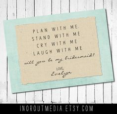 Will You Be My Bridesmaid - Personalized with bride's name, customize colors, 5x7 folded card. $4.00, via Etsy.