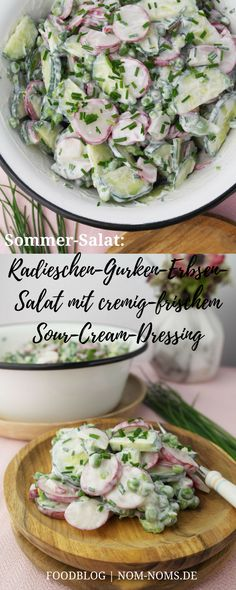 Radish-cucumber-pea salad with creamy-fresh sour cream dressing – Yvonne Reichardt Radieschen-Gurken-Erbsen-Salat mit cremig-frischem Sour-Cream-Dressing Radish-cucumber-pea salad with creamy-fresh sour cream dressing Salad Recipes Healthy Lunch, Salad Recipes For Dinner, Chicken Salad Recipes, Easy Salads, Sour Cream, Salad Menu, Creamy Cucumber Salad, Cucumber Dressing, Pea Salad