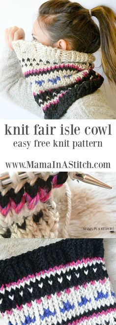 Heights Knit Fair Isle Cowl Alpine Heights Knit Fair Isle Cowl via - a really easy, knit scarf cowl pattern with pictures to help you along.Alpine Heights Knit Fair Isle Cowl via - a really easy, knit scarf cowl pattern with pictures to help you along. Loom Knitting, Free Knitting, Baby Knitting, Vintage Knitting, Knitting Machine, Fair Isle Knitting Patterns, Knit Patterns, Knitting Ideas, Knitting Tutorials
