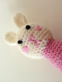 Rattle Crochet Pink Bunny by kylieB on Etsy, $15.00