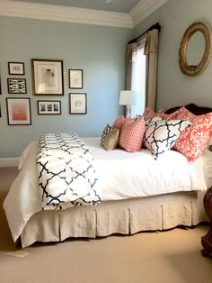 Completed linen, navy, and coral bedroom To see more rooms in my home and read my blog, please visit www.porchdaydreamer.com