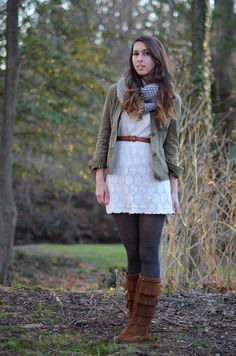 Target dress + tights // j. Winter Outfits Women, Winter Outfits For Work, Casual Winter Outfits, Fall Outfits, Cute Outfits, Work Outfits, Parka Outfit, Weekend Outfit, Weekend Fun
