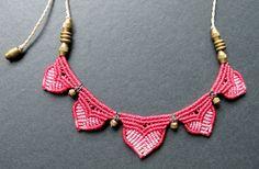 multi colored macrame necklace bohemian hippie by Mediterrasian