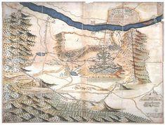 [Buda és közvetlen környékének térképe ostrommal. 3 oldalnéz... [H III c 138] | Térképek | Hungaricana Vintage World Maps, Karlsruhe
