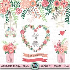 Wedding Clipart WEDDING FLORA ClipartMason JarBirdcageBannerWreathLove BirdlaurelsWedding InvitationInstant Download Wf086