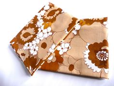 Retro1970 Big brown floral pillowslips by TickleAndFinch on Etsy, $20.00