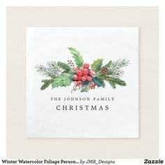 Shop Winter Watercolor Foliage Personalized Napkins created by JMR_Designs. Christmas Tree Design, Family Christmas, Christmas Diy, Corner Designs, Tree Designs, Christmas Paper Napkins, Personalized Napkins, Ecru Color, Cocktail Napkins