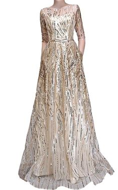 ddd6a1cbc81 Sequined formal evening gown in champagne color half sleeves. Floral  DressesMaxi ...