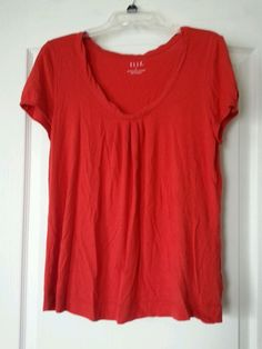 ELLE size L Dark Orange Short Sleeve Top Shirt Blouse in Clothing, Shoes & Accessories | eBay