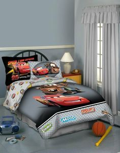 Cars Buddies Twin Comforter, Black by Cars. $74.09. Reverses to diamond plate pattern accented with Lightning's 95 and sponsor logos. Machine washable for easy care. Colorful comforter for Twin beds with Lightning McQueen and Tow Mater from Disney's Cars. Black ground with large-scale illustrations and checkered gray bottom with embroidered/appliqued sponsor logos. Made from 60 percent cotton, 40 percent polyester with 180-thread-count; 100 percent polyester fi...