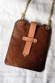 3c14e748b5e Handmade brown horse fur leather Cell Phone Case, Shoulder Bag Leather Cell  Phone Cases,