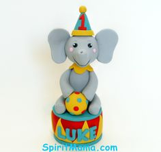 Circus Theme Elephant Birthday Cake Topper with Party Hat and Ball by SpiritMama on Etsy https://www.etsy.com/listing/177900608/circus-theme-elephant-birthday-cake