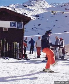 Skier trying to show off, ends up embarrassing himself in nontraditional fashion
