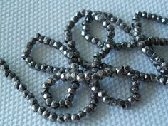 """24"""" ANTIQUE FRENCH STEEL CUT BEADS SILVER MICRO SEED BEADED PURSE REPAIR DOLLS"""