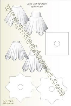 Sewing Skirts A square and a star skirts - Illustrated tutorials for common sewing techniques and apparel construction. Printable patterns for girl dresses available Size Skirt Patterns Sewing, Clothing Patterns, Coat Patterns, Blouse Patterns, Diy Clothing, Sewing Clothes, Sewing Coat, Sewing Hacks, Sewing Tutorials