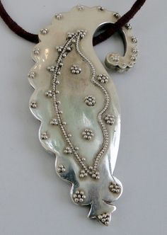Sterling silver Mango Paisley shape pendant necklace