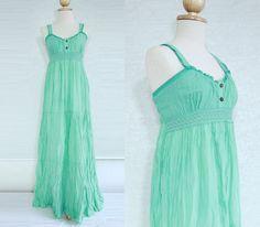"""Mint Maxi Dress - Maternity Dress / Beach Wedding Dress / Women Beach Dress / Long Summer Dress with Lace """"Maui"""""""
