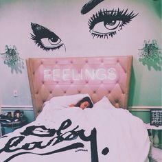 Image via We Heart It #bedroom #feelings #girl #grunge #neonsign #roomideas #girlbedroom
