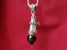 Medieval Cross - Vial of Blood Pendant - glass and silver plated metal - Memento Mori Vampire Necklace Cross Jewelry, Cute Jewelry, Jewelry Accessories, Jewelry Design, Unique Jewelry, Metal Necklaces, Glass Necklace, Crystal Necklace, Onyx Necklace