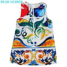 9.99$  Watch now - http://alicrk.shopchina.info/go.php?t=32686761335 - Bear Leader Girls Dress 2016 Brand Princess Dresses Girls Clothes Sleeveless Flowers Pattern Print Design for Children Clothing  #bestbuy