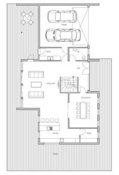 Contemporary House Plan to wide lot, two living areas. House Plan
